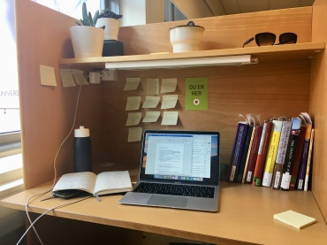 Anatomy of a study desk: plants, post-its, and library books
